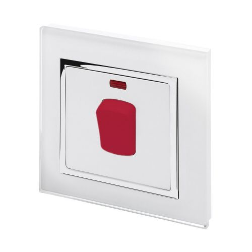 RetroTouch 45 Amp Double Pole Cooker Switch White Glass CT 01710